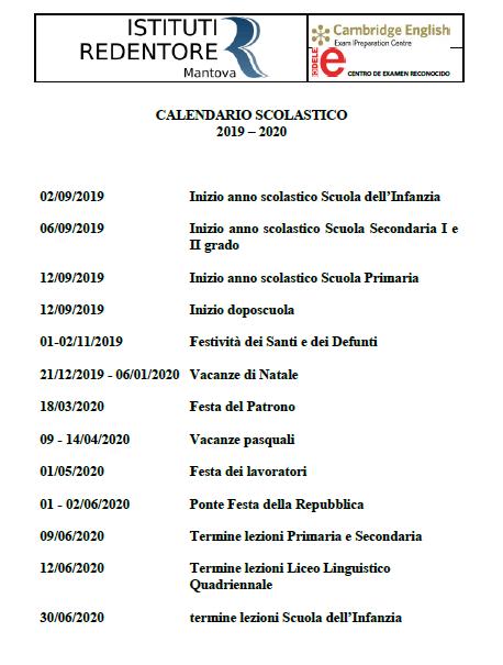 Calendario Esami Stato 2020.Calendario 2019 2020 Istituti Redentore